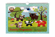 2018 Family Calendar organiser planner - Woodland Animlas Art Cover- 6 column