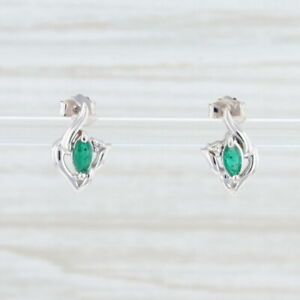 New 0.26ctw Emerald Diamond Stud Earrings 14k White Gold May Birthstone Marquise