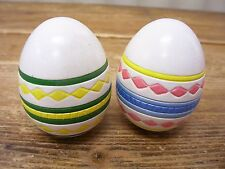 2 Decorative Easter Egg Ceramic Pottery Green Yellow Pink Blue Geometric Hollow