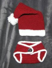 BABY INFANT CROCHETED KNIT XMAS SANTA COSTUME PHOTO PROP HAT DIAPER COVER 0-3