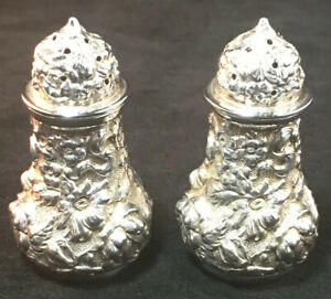 Pair Of Stieff Sterling Silver Repousse Salt & Pepper Shakers #10 Great Cond