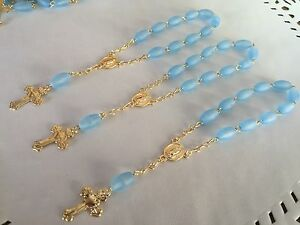30 Pc Mini Rosary LIGHT BLUE/Baptism Favor/ Recuerditos /communion Favor