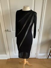 VINTAGE DRESS STUDIO 54 BLACK WITH LIGHTENING NOVELTY SILVER LUREX ROOTS SIZE 10