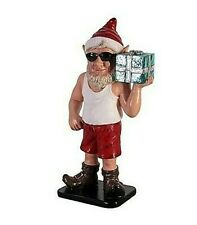 More details for 2-ft elf holding present relaxed sunny day home attire model figure statue santa