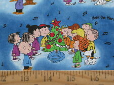 "Peanuts Snoopy Hark the Herald Christmas Fabric - Fat Quarter 18"" x 21"" Blue"