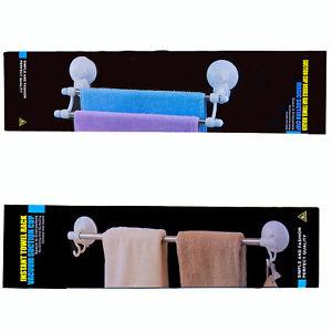 Set of 2 Towel Bar Rack Holder Rail Bathroom Suction Cup Double Single Hanger
