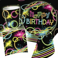 80's Neon Glow Birthday Party Complete Tableware Pack Kit For 16