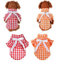 Small Dog Puppy Cat Pet Plaid T Shirt Clothes Jacket outfit Coat Summer Winter