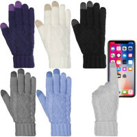 Womens Smartphone Knit Texting Gloves Three Fingers Touch Screen Gloves