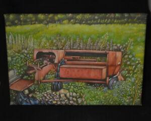 The Old Hay Bailer-Canvas Print of Massey Ferguson Farm machinery 30x20cm signed