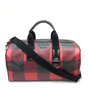 DIOR HOMME Check pattern Shoulder Bag 2way d¥Duffel bag Red x Black PVC