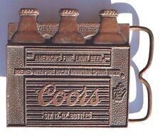 Vtg COORS Six 12-Oz.Bottles American FINE Beer (Adolph Coors) Brass Belt Buckle