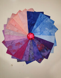 20 x Batik Hand Dyed Tie Dye Imperial Fat Quarters Forest Berries Marbles