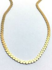 14K YELLOW  GOLD  CURB CHAIN,  SERPENTINE NECKLACE,  2mm  19 Inches Long