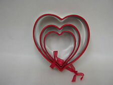 New Biscuit Pastry Cookie Metal Cutters Set Of  3 Hearts