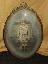 """VINTAGE 22"""" HIGH 2 DOUBLE SIDED BOY FISHING BUBBLE PICTURE FRAME"""