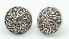 925 Earrings Sterling Silver Vintage Round Marcasite