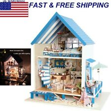 Barbie Dollhouse Wooden Kids Doll House With Furniture Staircase LED Lights