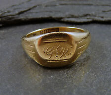 Vintage 1960s 9ct Gold Signet Ring - Hallmarked 1962 - Size L 1/2 - Initials GR