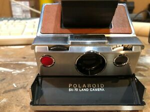 POLAROID SX-70 Land Chrome Brown Leather Camera with Manual and Case Vintage
