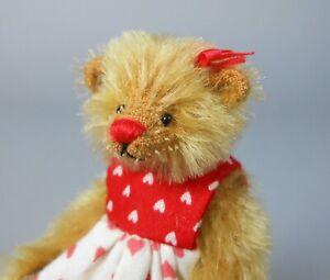 Deb Canham Cuddle Me Mohair Bear in Heart Print Dress Miniature Valentine