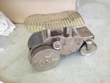 """11"""" long 1930s stainless steel steamroller chrome Pressed Toy tin Wind Up 1920s?"""