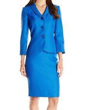 Le Suit NEW Blue Womens Size 18 Metallic Jacquard Skirt Suit Set $200 102
