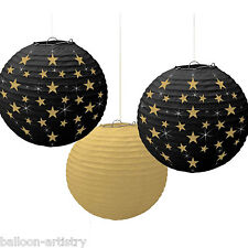 3 Hollywood Stars Awards Party Black Gold Hanging Paper Ball Lantern Decorations