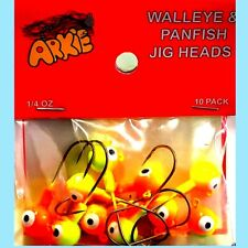 Arkie Orange & Chartreuse 1/4oz Jig Heads -Walleye & Panfish Fishing Jigs 10 pak