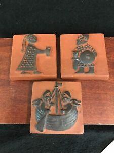 VIntage 3 Thyssen Keramik viking warriors And Maiden pottery tile Danmark