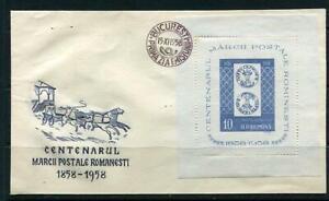 Romania1958 centenary Post Coach Classic Mi Block 40 First Day Cover 6199