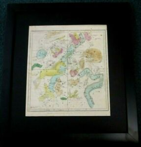FRAMED ASTRONOMY ANTIQUE CELESTIAL MAP / CHART CONSTELLATIONS & ZODIAC