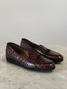 Belgian Shoes Travelette Slippers Loafers 8 Flats Burgundy Croco Patent Maroon