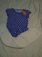 Gymboree Outfit Girls 10 12 White Corduroy Pants & Blue Floral Peplum Top