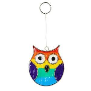 Rainbow Owl Suncatcher - Window Decoration - Garden Sun Catcher