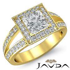 Halo Pre-Set Princess Diamond Engagement Ring GIA F VS2 18k Yellow Gold 2.05ct
