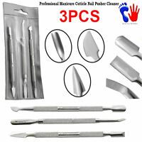 3PCS Professional Cuticle Pushers Nail Cleaners Manicure Pedicure Tools Care Set