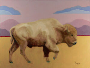 Blond Bison - Original oil painting by Lance Straughn, Chickasaw