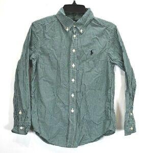 Ralph Lauren Boys Mini Gingham Check Long Sleeve Dress Button Down Shirt S (8)