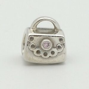 Pandora ALE Sterling Silver 925 Women`s Hand Bag & Amethyst Beaded Spacer Charm
