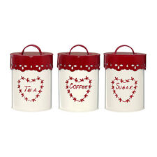 Anglaise Tea Coffee and Sugar Canisters Jars Set of 3 Cream And Red Home Storage