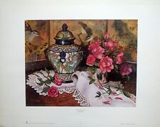 "Francie Botke ""Roses with Temple Jar"" still life of roses and fine porcelain"