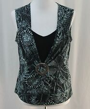 Cato, Medium, Black Multi Floral Knit Sleeveless Top/ Faux Buckle
