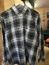 WOODS & GRAY Shirt* Long Sleeves *  Med * Plaid Green White Red Black