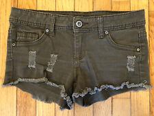 Blue Asphalt Women's Junior's Distressed Frayed Cutoff Jean Shorts Army Green 7