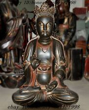 """25""""Huge Chinese temple lacquerware Old Wood carved Goddess Guanyin Buddha Statue"""