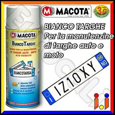 MACOTA Bianco Targhe Vernice Spray 400ml Pittura Tuning Targa Auto Colore Perla