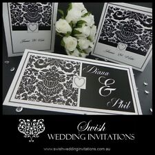 Black & White Vintage Damask Modern Wedding Invitations & Stationery - Sample DL