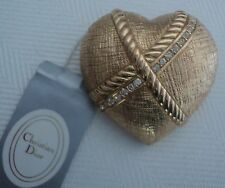 Christian Dior Golden Heart with Stripe of Swarovski Crystals Brooch Pin