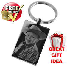 Mothers Day Silver Rectangle Keyring PHOTO ENGRAVED FREE P&P Great Gift